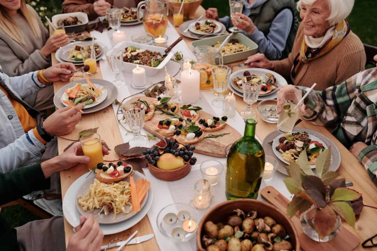 family gathering at festive table